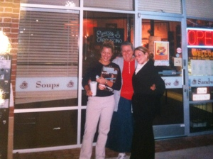 My mom, a customer, and I in front of Café Au Lait.