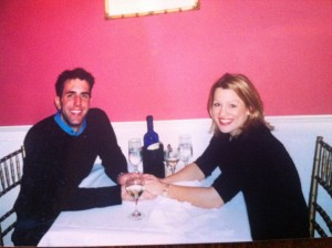 February 8th, 2003...the night we got engaged. Three weeks after our first date. :)